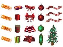 背景圣诞节要素查出白色 库存照片