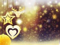 背景圣诞节金子黄色心脏鹿球雪星装饰弄脏例证新年 库存图片