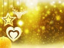 背景圣诞节金子黄色心脏鹿球雪星装饰弄脏例证新年 免版税库存图片