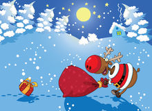 背景圣诞节鹿晚上 向量例证