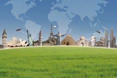 背景在世界地图的旅行目的地 免版税库存图片