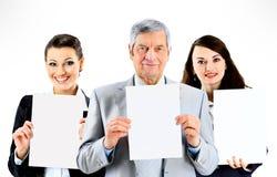 背景在人微笑的空白年轻人的业务组 免版税库存图片