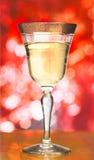 背景在红色的香槟玻璃 库存照片