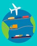 背景在飞机运输白色的概念地球 免版税库存照片