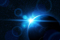 背景地球充分的行星星形 向量 库存图片