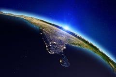 背景地球充分的行星星形 3d翻译 图库摄影