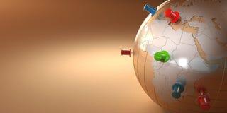 背景地球桔子图钉 免版税库存照片