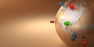 背景地球桔子图钉 免版税图库摄影