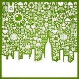 背景城市去绿色 库存例证