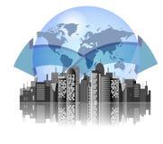 背景城市地球地平线 皇族释放例证
