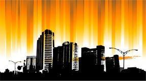 背景城市日出 免版税图库摄影