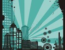背景城市系列日落 免版税库存图片