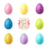 背景复活节彩蛋例证查出的集合向量白色 免版税库存图片