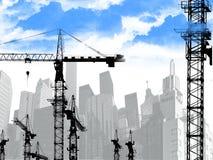 背景大厦城市起重机 免版税库存图片