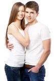 背景夫妇查出的空白年轻人 库存图片