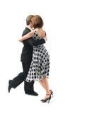 背景夫妇跳舞探戈空白年轻人 免版税库存照片