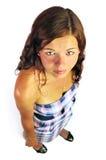 背景女孩微笑的白色 免版税库存照片