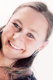背景女孩微笑的空白年轻人 免版税图库摄影