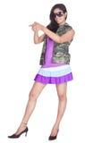 背景女孩斯里兰卡的白色 免版税图库摄影