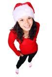 背景女孩查出查找白色的圣诞老人 免版税库存照片