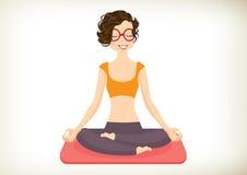 背景女孩查出的空白瑜伽 免版税库存图片
