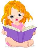 背景女孩查出的读的白色 免版税图库摄影