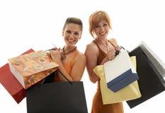 背景女孩购物的都市工作 免版税库存图片