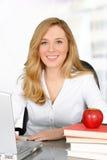 背景女性查出的路径教师白色 免版税库存照片