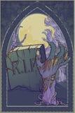背景字符万圣节查出在海报 有上升从地面的墓碑和烂掉蛇神手的被月光照亮公墓 复杂哥特式 皇族释放例证