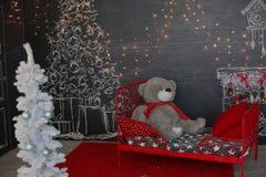 背景对光检查圣诞节构成黑暗的夜间新的s玩具年 抽象背景构成守护程序黑暗的数字式幻想妖怪绘画正方形主题拖钓 库存照片