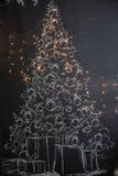 背景对光检查圣诞节构成黑暗的夜间新的s玩具年 抽象背景构成守护程序黑暗的数字式幻想妖怪绘画正方形主题拖钓 免版税图库摄影