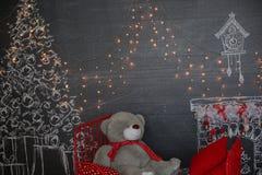 背景对光检查圣诞节构成黑暗的夜间新的s玩具年 抽象背景构成守护程序黑暗的数字式幻想妖怪绘画正方形主题拖钓 免版税库存图片