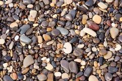 背景小卵石湿石头的纹理 库存图片
