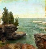 背景峭壁grunge海运 免版税库存图片