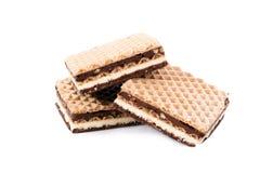 背景巧克力查出的薄酥饼白色 免版税库存照片