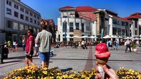 背景巧克力锥体提取乳脂在开心果草莓香草白色的冰冰淇凌 在葡萄酒生动的颜色的艺术性的神色 免版税图库摄影