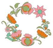 背景干燥花卉脏的叶子老纸工厂弄脏了葡萄酒 开花民间艺术样式 美妙的种族样式圆的花卉框架 图库摄影