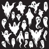 背景庆祝鬼魂万圣节节假日 有嘘可怕面孔的鬼的妖怪 鬼的鬼魂平的传染媒介象集合 向量例证
