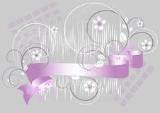 背景开花灰色紫色丝带 向量例证