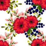背景开花花开花天空白色 无缝抽象高雅的模式 库存图片