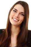 背景快乐的女孩查出青少年的白色 免版税库存图片