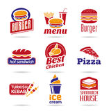 背景快餐图标查出的集合白色 免版税库存图片