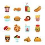 背景快餐图标查出的集合白色 图库摄影