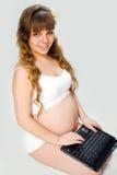 背景怀孕的白人妇女 库存图片