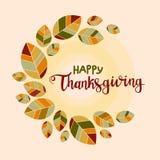 背景愉快的感恩 与五颜六色的平的叶子的海报 库存图片