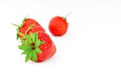 背景成熟草莓白色 免版税库存图片