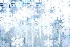 背景或纹理的白色和蓝色雪花 库存图片