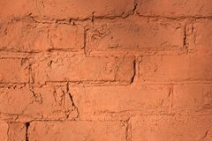背景或纹理的红砖墙壁 库存照片