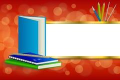 背景抽象学校绿皮书蓝色笔记本统治者笔铅笔夹子包围红色金银铜合金条纹框架例证 免版税图库摄影