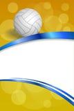 背景抽象排球蓝色黄色白色球丝带垂直的框架例证 库存照片